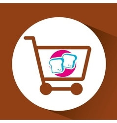 Shopping cart with chopped bread vector