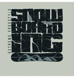 Snowboarding winter sport emblem t-shirt - vector