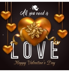 Valentines day background with hanging gold heart vector