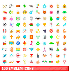 100 emblem icons set cartoon style vector