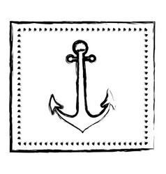 monochrome sketch frame with anchor vector image