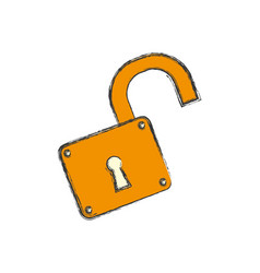 padlock unlocked security object vector image