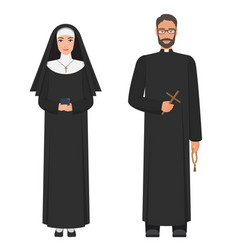 Catholic priest and nun flat cartoon vector