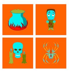 assembly flat potion cauldron zombie men spider vector image