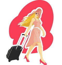 Woman tourist travelling with suitcase vector