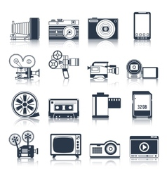 Photo video icons set black vector image