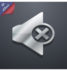Mute speaker icon symbol 3d style trendy modern vector