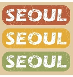 Vintage seoul stamp set vector