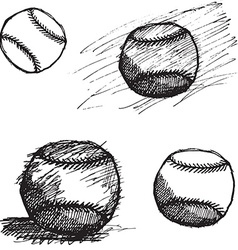 Baseball ball sketch set isolated on white vector image