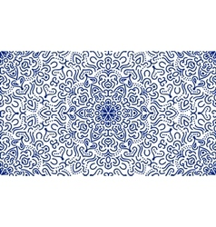 Elegant blue flower line pattern vector