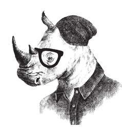 Hand drawn dressed up rhino in hipster style vector