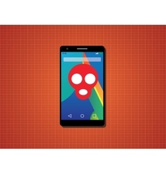 Smartphone virus with skull and red vector
