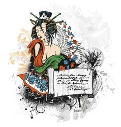 geisha with scroll vector image