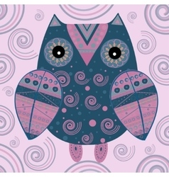 Cute owl with ethnic ornament vector