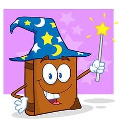 Wizard Book Cartoon Character Holding A Magic Wand vector image