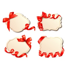 Set of old labels with red bows and ribbons vector