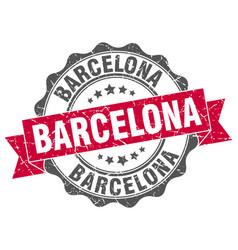 Barcelona round ribbon seal vector