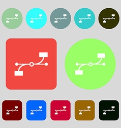 Bezier curve icon sign 12 colored buttons flat vector