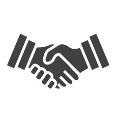 Business handshake solid icon contract agreement vector