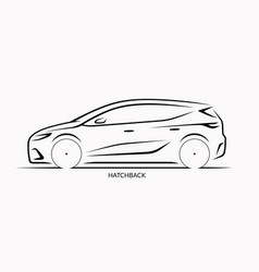 car silhouette side view of hatchback vector image vector image