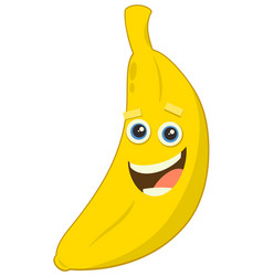 cartoon banana fruit character vector image vector image