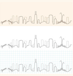 chicago hand drawn skyline vector image vector image