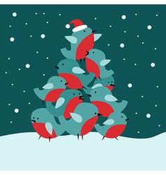 Christmas card with bullfinch birds vector