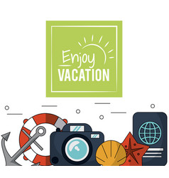 Color poster of enjoy vacation with anchor and vector