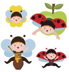 Cute ladybug and bee babies vector image