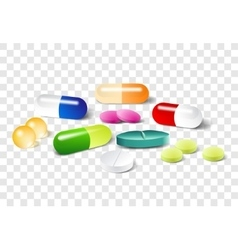 Different pills on a transparent background vector image