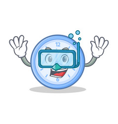 Diving clock character cartoon style vector