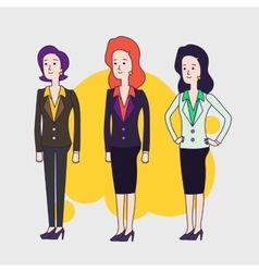 Elegant business woman characters Linear vector image vector image