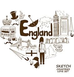English symbols in heart shape concept vector image vector image