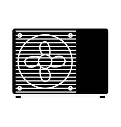 Flat black air conditioner icon vector