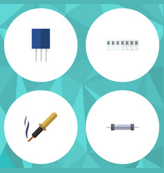 Flat icon device set of resistor repair vector