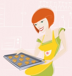 girl makes cake vector image vector image