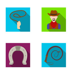 Hand lasso cowboy horseshoe whip rodeo set vector