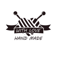hand made with love logotype design of thread and vector image