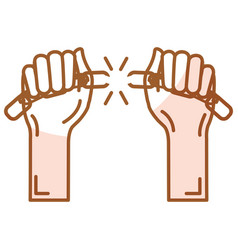 Hands human with chain break vector