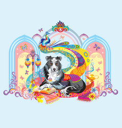 Image of dog the symbol of new year 2018 vector