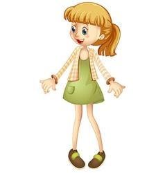 Little girl in green skirt vector image vector image