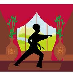 man training karate vector image vector image