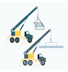 Monochrome icon set with loading crane vector