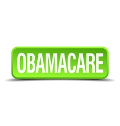 Obamacare green 3d realistic square isolated vector