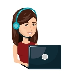 Person working in laptop with headset vector