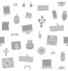 Pixel art computer objects seamless pattern vector image vector image