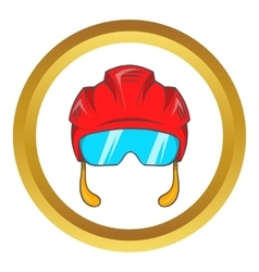 Red hockey helmet with glass visor icon vector