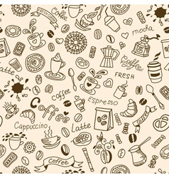 Seamless doodles background with coffee vector image vector image