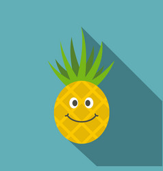 Smiling pineapple icon flat style vector