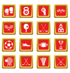 Sport equipment icons set red vector